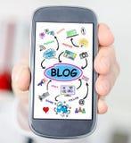 Blogkonzept auf einem Smartphone Lizenzfreie Stockfotos