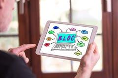 Blogkonzept auf einer Tablette Lizenzfreies Stockfoto