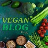 Blogkonzept des strengen Vegetariers Großer Satz Gemüse und Gewürze Stockbild