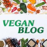 Blogkonzept des strengen Vegetariers Großer Satz Gemüse und Gewürze auf einem Weiß Lizenzfreie Stockfotos