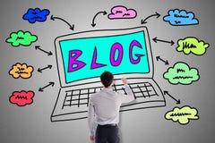 Blogkonzept gezeichnet von einem Mann Lizenzfreie Stockfotografie