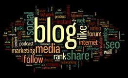 Blogkonzept im Worttag-cloud Stockfotografie