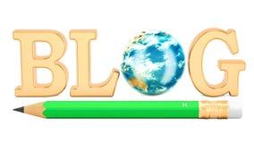 Blogkonzept mit Bleistift und drehender Erdkugel Wiedergabe 3D lokalisiert auf weißem Hintergrund lizenzfreie abbildung