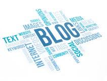 Blogkonzeptwolkendiagramm-Druckdokument Lizenzfreie Stockbilder