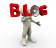 Blogmegaphon des Mannes 3d Lizenzfreie Stockbilder