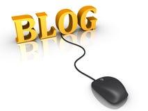 Blogordet och en mus förband till det Arkivbild