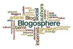 blogosphere云彩字 库存照片