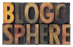 Blogosphere - hölzerne Hhhochhdrucktypen der Weinlese Stockbilder
