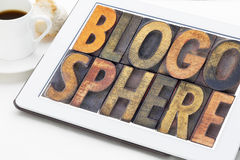 Blogosphere word abstract on tablet Stock Photos