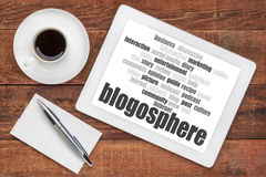 Blogosphere word cloud on tablet royalty free stock photos