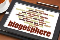 Blogospherewortwolke auf digitaler Tablette Lizenzfreie Stockfotografie