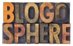 Blogospherewortzusammenfassung in der hölzernen Art Stockfotos