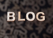 Blogtext in den hölzernen Buchstaben gerade Lizenzfreie Stockbilder