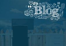 Blogtext mit Zeichnungsgraphiken Stockbilder