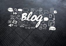 Blogtext mit Zeichnungsgraphiken Stockbild