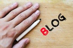 Blogtextkonzept Stockbild
