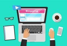 Blogu, blogging i blogglers tematu projekt, wektorowa ilustracyjna grafika Zdjęcie Royalty Free