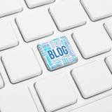 Blogu słowa pojęcia chmura w guziku lub klucz na klawiaturze obraz stock