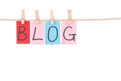 Blogue, cair colorido das palavras na corda Imagem de Stock