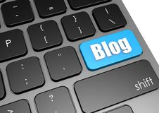Blogue com teclado preto Imagens de Stock Royalty Free