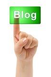 Blogue da mão e do botão Fotos de Stock