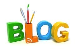 Blogue da palavra com letras coloridas Fotografia de Stock Royalty Free