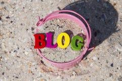 Blogue da palavra de letras de madeira Imagens de Stock
