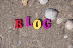Blogue da palavra de letras de madeira Imagens de Stock Royalty Free