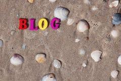 Blogue da palavra de letras de madeira coloridos Imagem de Stock Royalty Free