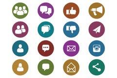 Blogue e ícones sociais dos meios ilustração do vetor