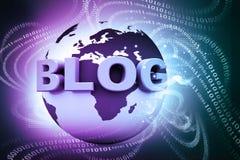 Blogue e mundo Imagens de Stock Royalty Free