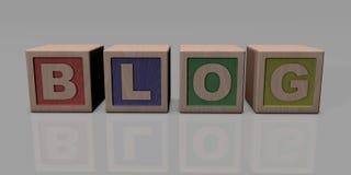 BLOGUE escrito com blocos de madeira Fotos de Stock
