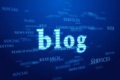 Blogue. Nuvem das palavras no fundo azul. Imagens de Stock