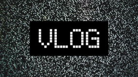 Blogue video ou conceito de Vlog título sobre o fundo estático do ruído da tevê Foto de Stock Royalty Free