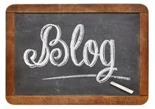 Blogwort auf Tafel Stockfoto