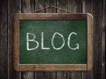 Blogwort auf Tafel oder Tafel Stockfotografie