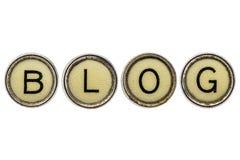 Blogwort in den Schreibmaschinenschlüsseln Stockfoto