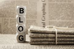 Blogwort und -zeitungen Lizenzfreie Stockfotografie