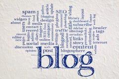 Blogwortwolke auf Papier Stockbild