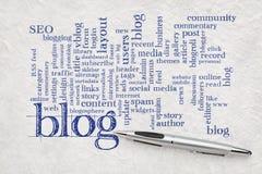 Blogwortwolke auf Papier Lizenzfreies Stockbild