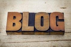 Blogwortzusammenfassung in der Briefbeschwererholzart Stockbilder