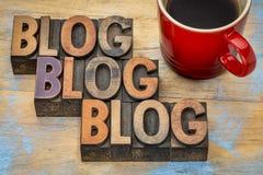 Blogwortzusammenfassung in der Briefbeschwererholzart Lizenzfreies Stockfoto
