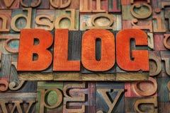 Blogwortzusammenfassung in der letterpess Holzart Stockfotos