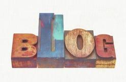 Blogwortzusammenfassung in gemischter hölzerner Art Lizenzfreie Stockfotografie