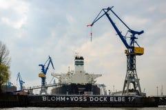 Blohm e doca Hamburgo de Voss Fotos de Stock Royalty Free