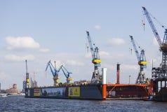 Blohm e Voss si mettono in bacino, Amburgo, editoriale Immagine Stock