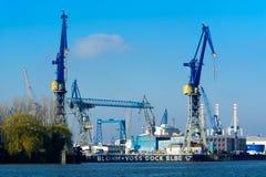 Blohm + trabajos de la construcción naval y de ingeniería de Voss Imágenes de archivo libres de regalías