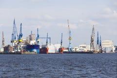 Blohm And Voss Dock, Hamburg, editorial. Hamburg, Germany - July 5: Blohm And Voss Shipyard in Hamburg, Germany on july 5, 2013 stock photo