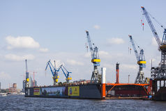 Blohm And Voss Dock, Hamburg, editorial. Hamburg, Germany - July 5: Blohm And Voss Shipyard in Hamburg, Germany on july 5, 2013 stock image