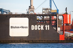 Blohm + Voss en Hamburgo Alemania Imagenes de archivo